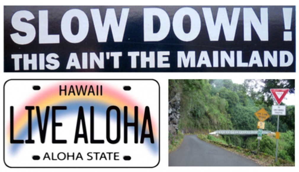 Live Aloha! Travel safely on the Road to Hana.  Slow down, let others pass, and yield to oncoming traffic.